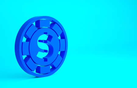 Blue Casino chip with dollar symbol icon isolated on blue background. Casino gambling. Minimalism concept. 3d illustration 3D render