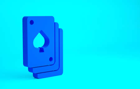 Blue Playing cards icon isolated on blue background. Casino gambling. Minimalism concept. 3d illustration 3D render