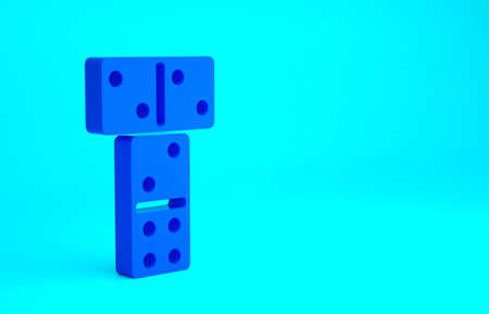 Blue Domino icon isolated on blue background. Minimalism concept. 3d illustration 3D render