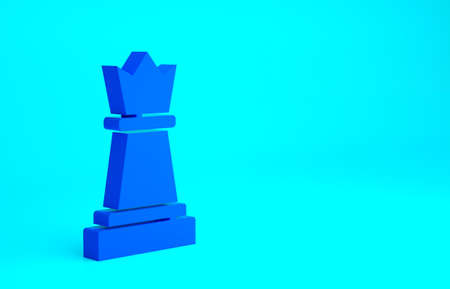 Blue Chess icon isolated on blue background. Business strategy. Game, management, finance. Minimalism concept. 3d illustration 3D render