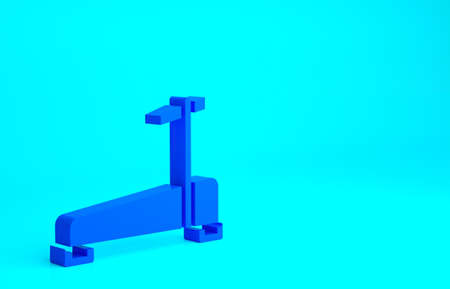 Blue Treadmill machine icon isolated on blue background. Minimalism concept. 3d illustration 3D render