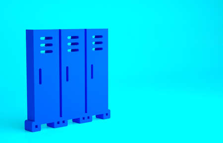 Blue Locker or changing room for hockey, football, basketball team or workers icon isolated on blue background. Minimalism concept. 3d illustration 3D render