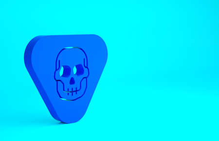 Blue Guitar pick icon isolated on blue background. Musical instrument. Minimalism concept. 3d illustration 3D render