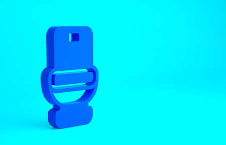 Blue Toilet bowl icon isolated on blue background. Minimalism concept. 3d illustration 3D render