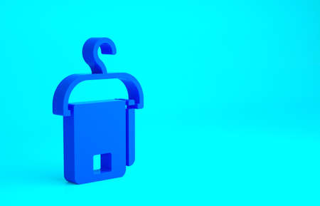 Blue Towel on hanger icon isolated on blue background. Bathroom towel icon. Minimalism concept. 3d illustration 3D render Stock fotó
