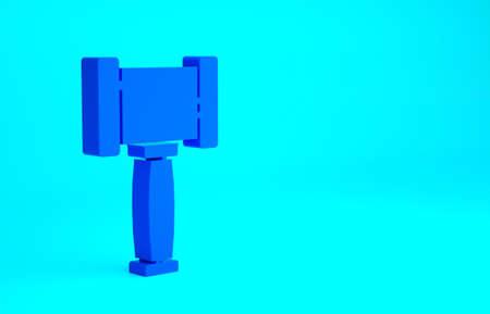 Blue Judge gavel icon isolated on blue background. Gavel for adjudication of sentences and bills, court, justice. Auction hammer. Minimalism concept. 3d illustration 3D render