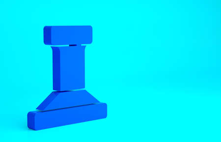 Blue Stamp icon isolated on blue background. Minimalism concept. 3d illustration 3D render Stockfoto