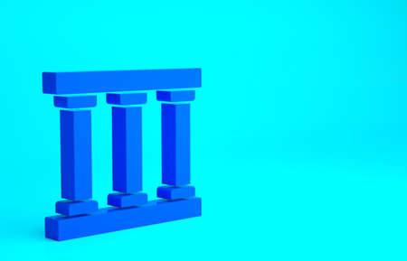 Blue Prison window icon isolated on blue background. Minimalism concept. 3d illustration 3D render 版權商用圖片