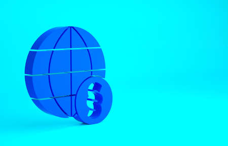 Blue International law icon isolated on blue background. Global law logo. Legal justice verdict world. Minimalism concept. 3d illustration 3D render