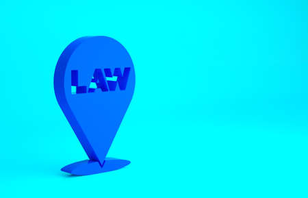 Blue Location law icon isolated on blue background. Minimalism concept. 3d illustration 3D render Stockfoto