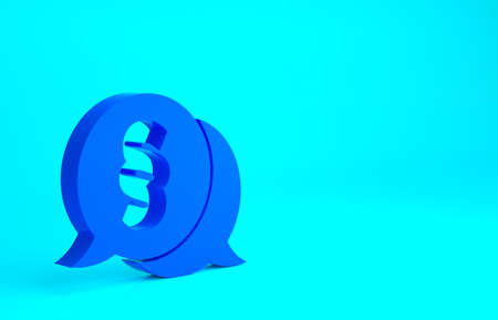 Blue Law icon isolated on blue background. Minimalism concept. 3d illustration 3D render