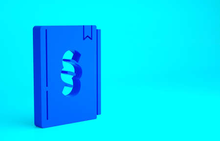 Blue Law book icon isolated on blue background. Legal judge book. Judgment concept. Minimalism concept. 3d illustration 3D render Stockfoto