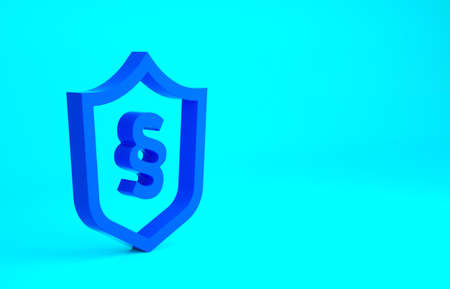 Blue Justice law in shield icon isolated on blue background. Minimalism concept. 3d illustration 3D render Stockfoto