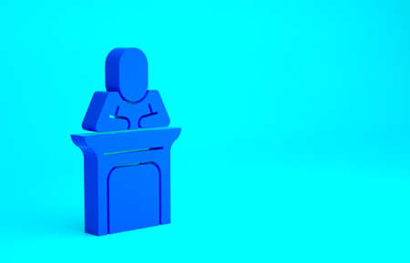 Blue Judge icon isolated on blue background. Minimalism concept. 3d illustration 3D render
