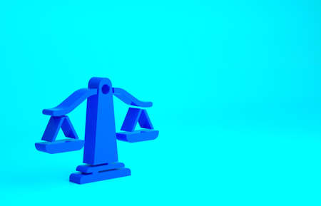 Blue Scales of justice icon isolated on blue background. Court of law symbol. Balance scale sign. Minimalism concept. 3d illustration 3D render