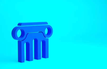 Blue Law pillar icon isolated on blue background. Minimalism concept. 3d illustration 3D render Stockfoto