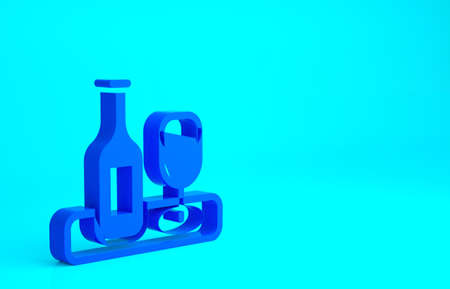 Blue Wine bottle with glass icon isolated on blue background. Minimalism concept. 3d illustration 3D render