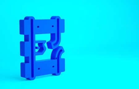 Blue Broken or cracked rails on a railway icon isolated on blue background. Minimalism concept. 3d illustration 3D render Stock fotó