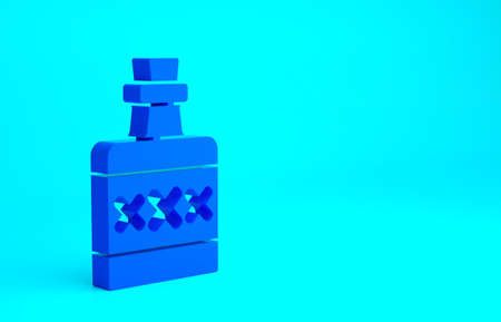 Blue Alcohol drink Rum bottle icon isolated on blue background. Minimalism concept. 3d illustration 3D render