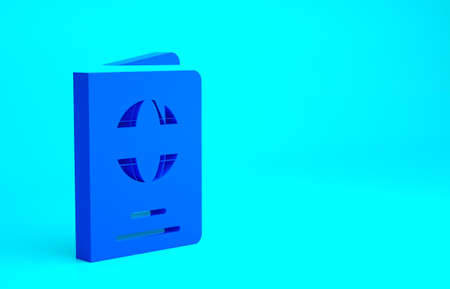 Blue Passport with biometric data icon isolated on blue background. Identification Document. Minimalism concept. 3d illustration 3D render