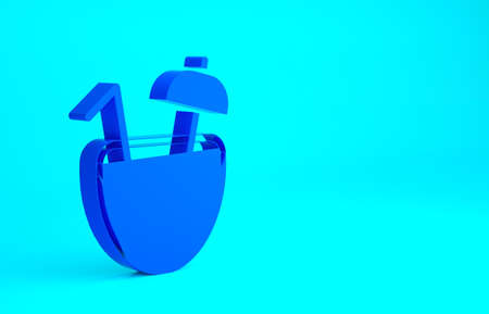 Blue Coconut juice exotic fresh cocktail and umbrella icon isolated on blue background. Minimalism concept. 3d illustration 3D render