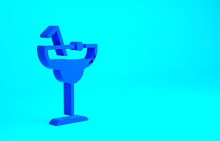 Blue Cocktail and alcohol drink icon isolated on blue background. Minimalism concept. 3d illustration 3D render
