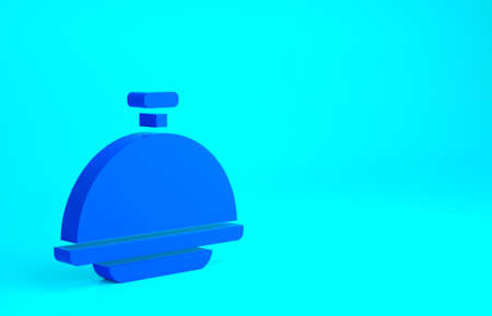 Blue Covered with a tray of food icon isolated on blue background. Tray and lid sign. Restaurant cloche with lid. Minimalism concept. 3d illustration 3D render
