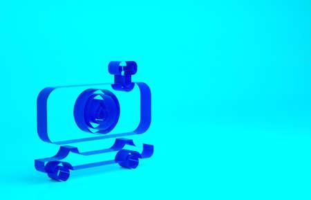 Blue Fuel tanker truck icon isolated on blue background. Gasoline tanker. Minimalism concept. 3d illustration 3D render
