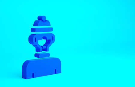 Blue Winter athlete icon isolated on blue background. Minimalism concept. 3d illustration 3D render