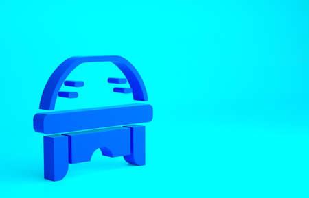 Blue Hockey helmet icon isolated on blue background. Minimalism concept. 3d illustration 3D render
