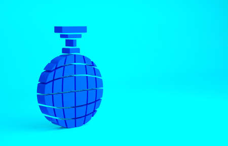 Blue Disco ball icon isolated on blue background. Minimalism concept. 3d illustration 3D render Stok Fotoğraf