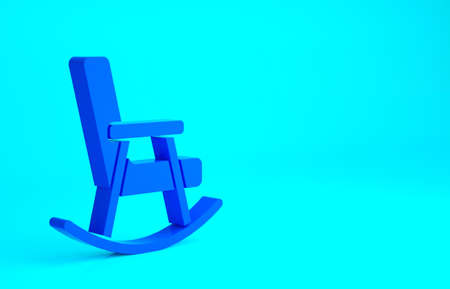 Blue Rocking chair icon isolated on blue background. Minimalism concept. 3d illustration 3D render