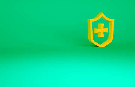 Orange Shield icon isolated on green background. Guard sign. Security, safety, protection, privacy concept. Minimalism concept. 3d illustration 3D render