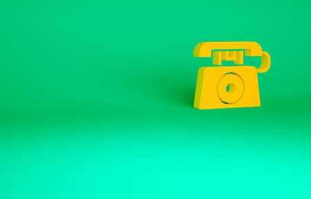 Orange Telephone with emergency call 911 icon isolated on green background. Police, ambulance, fire department, call, phone. Minimalism concept. 3d illustration 3D render