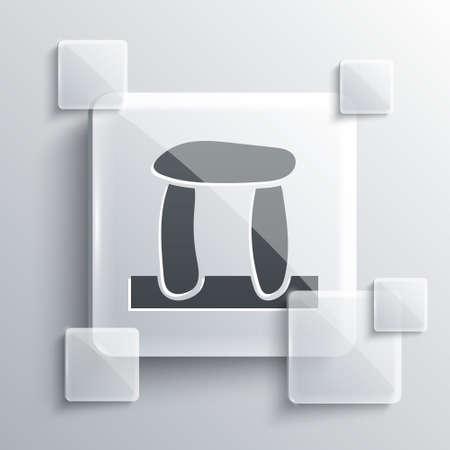 Grey Stonehenge icon isolated on grey background. Square glass panels. Vector