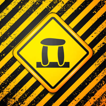 Black Stonehenge icon isolated on yellow background. Warning sign. Vector