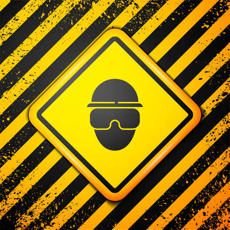 Black Special forces soldier icon isolated on yellow background. Army and police symbol of defense. Warning sign. Vector