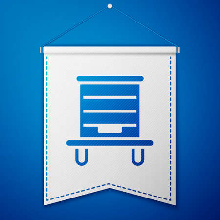 Blue Hive for bees icon isolated on blue background. Beehive symbol. Apiary and beekeeping. Sweet natural food. White pennant template. Vector