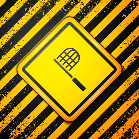 Black Butterfly net icon isolated on yellow background. Warning sign. Vector