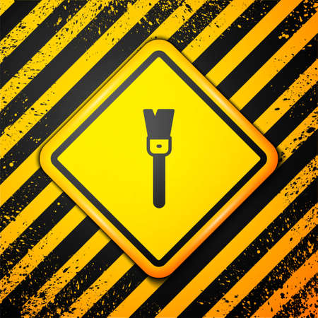 Black Paint brush icon isolated on yellow background. For the artist or for archaeologists and cleaning during excavations. Warning sign. Vector 向量圖像