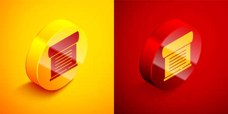 Isometric Decree, paper, parchment, scroll icon icon isolated on orange and red background. Circle button. Vector