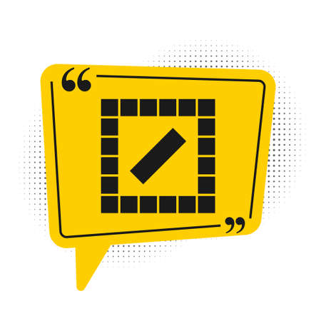 Black Board game icon isolated on white background. Yellow speech bubble symbol. Vector