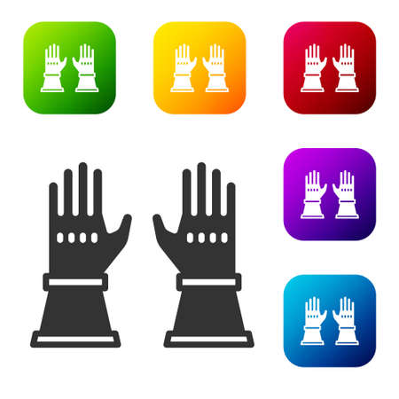 Black Firefighter gloves icon isolated on white background. Protect gloves icon. Set icons in color square buttons. Vector