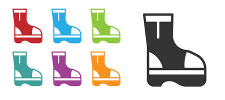 Black Fire boots icon isolated on white background. Set icons colorful. Vector Иллюстрация