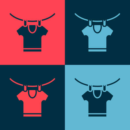 Pop art Drying clothes icon isolated on color background. Clean shirt. Wash clothes on a rope with clothespins. Clothing care and tidiness. Vector