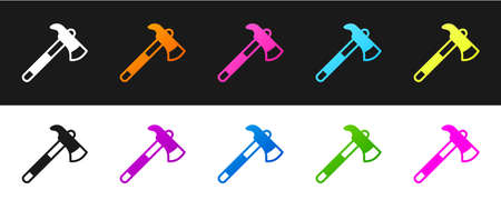 Set Firefighter axe icon isolated on black and white background. Fire axe. Vector