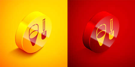 Isometric Fire shovel and cone bucket icon isolated on orange and red background. Circle button. Vector