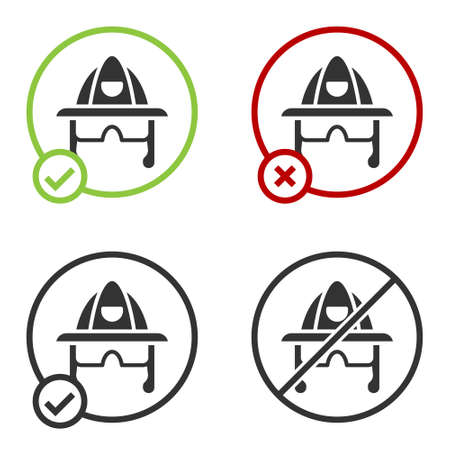 Black Firefighter helmet or fireman hat icon isolated on white background. Circle button. Vector Иллюстрация
