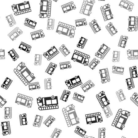 Black Fire truck icon isolated seamless pattern on white background. Fire engine. Firefighters emergency vehicle. Vector