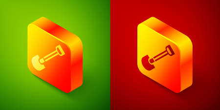 Isometric Fire shovel icon isolated on green and red background. Fire protection equipment. Equipment for firefighter. Square button. Vector Иллюстрация